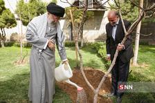کاشت نهال توسط رهبر انقلاب در روز درختکاری