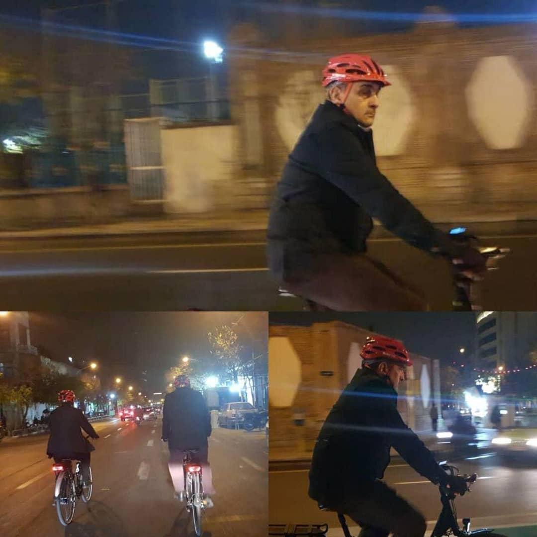 بازگشت شهردار تهران با دوچرخه به خونه