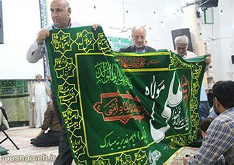 جشن عید غدیر با حضور پرچم متعلق به حرم علوی(ع) در گنبد + تصاویر