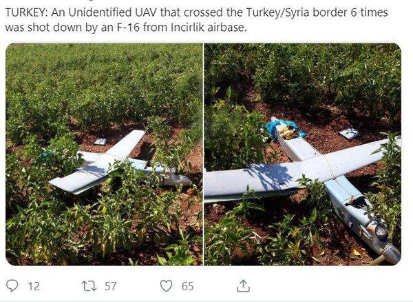 ساقط کردن پهپاد ناشناس در مرز ترکیه و سوریه