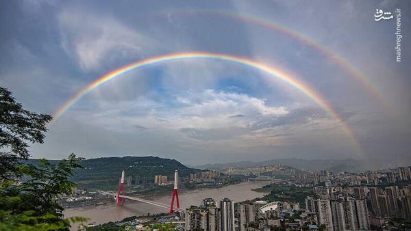 عکس/ رنگین کمان زیبا در آسمان چین