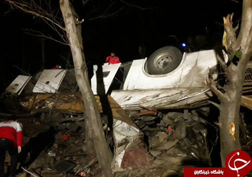 اسامی مجروحان سقوط اتوبوس تهران کلاله/ فوت راننده ۵۰ ساله