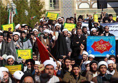 تجمع طلاب حوزه های علمیه گلستان در اعتراض به جنایات آلسعود در یمن