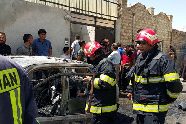 آتش سوزی پراید در گرگان خسارات جانی در پی نداشت