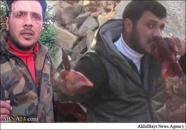 بازگشت تروریست آدمخوار با سر بریده در ادلب +عکس