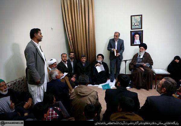 دیدار پدر شهید اهل تسنن مدافع حرم با رهبر انقلاب+تصاویر
