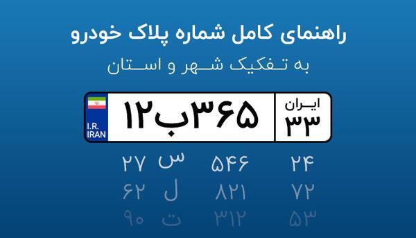 راهنمای کامل شماره پلاک خودرو به تفکیک شهر و استان
