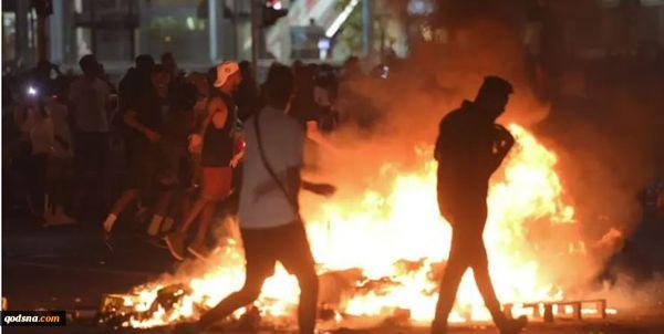 واژگون کردن خودروهای صهیونیستها توسط معترضان