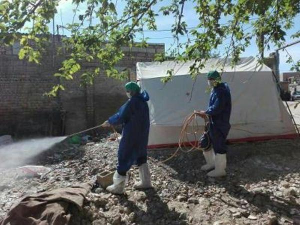 سمپاشی مراکز نگهداری دام مناطق سیل زده استان