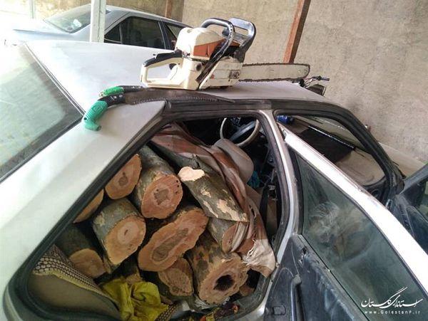 دو دستگاه خودرو حامل قاچاق چوب در شهرستان رامیان کشف و ضبط شد