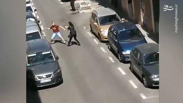 فیلم/ حمله به پلیس با چاقو
