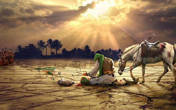 دومین شب بازسازی سه بعدی لحظه شهادت حضرت ابوالفضل العباس علیه السلام در گلستان