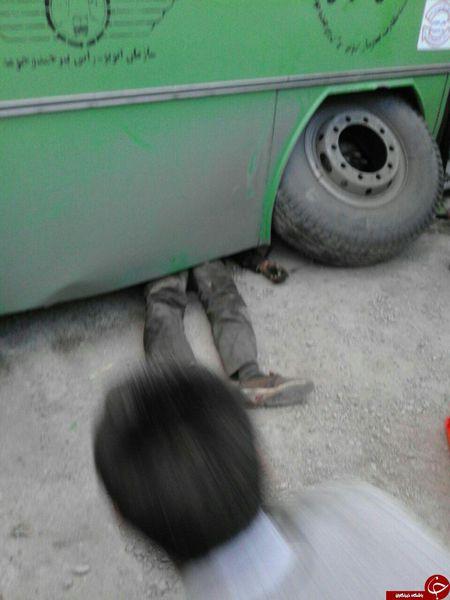 فیلم/سقوط اتوبوس روی تعمیرکار/تصاویر+18
