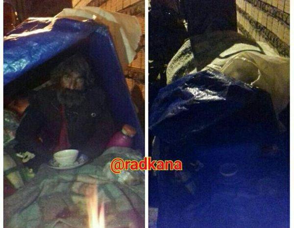 شب برفی کردکوی و کارتن خوابی در خیابان!!!+عکس