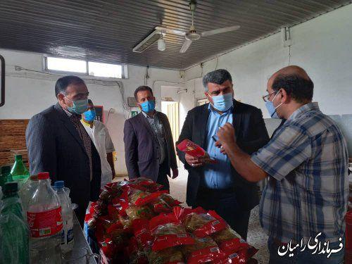 بازدید فرماندار رامیان و رییس اداره صمت از تنها واحد فعال تولید ماکارونی استان