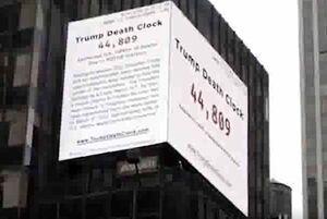 فیلم/ نصب «ساعت مرگ ترامپ» در قلب اقتصادی آمریکا!